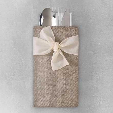 Hand-tied Cream Ribbon Silverware Pouch